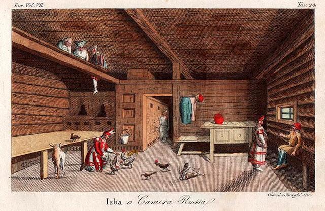 Изба или русская комната, Милан, Италия, 1826 год. Авторы гравюры Луиджи Джиаре (Luigi Giarre) и Винченцо Станджи (Vincenzo Stanghi). Работа из издания Джулио Феррарио (Giulio Ferrario)