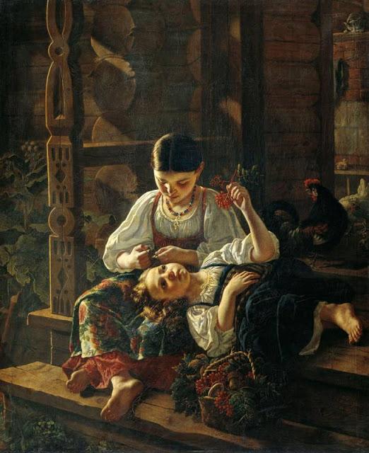 Фелицын Ростислав (1830-1904). На крыльце избы. 1855 год.